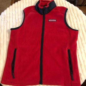 Red fleece vest